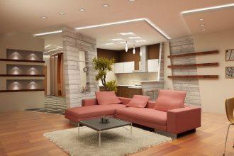sufit podwieszany w salonie